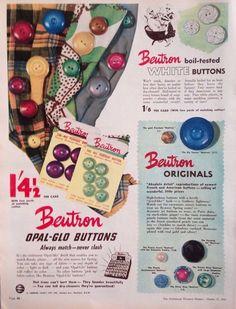 BEUTRON RETRO BUTTONS DRESSMAKING ART AD 1952 original vintage AUSTRALIAN advert