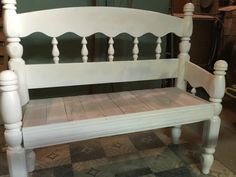 Repurposed twin bed head board - bench