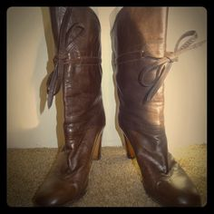 Vintage Brown Leather Cowboy Chic Boots Cuff 7.5 Vintage Pollini Brown Leather Cowboy Chic Riding Boots Heels Boho Folk Cuff 7.5 Pollini  Shoes Heeled Boots