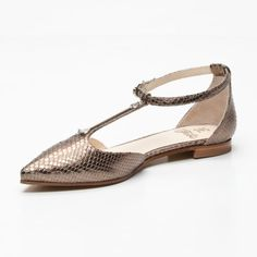 Leather Flats in Bronze & Silver // Fabi
