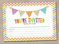 Fill In Printable Party Invitations Instant Download Bunting & Chevron Stripes Graduation Party Baby Shower Bridal Shower Birthday Party