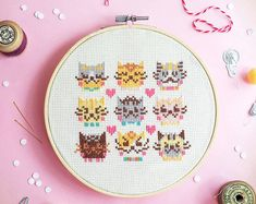 Cats Cross stitch pattern, funny cross stitch, modern cross stitch, counted cross stitch sampler, xstitch pattern - I Love Cats