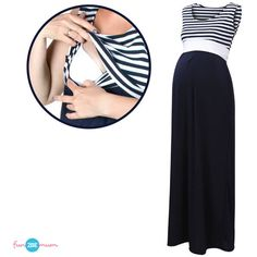 Blue stripes/navy Casual Sleeveless Maternity Maxi Dress Nursing... ($39) ❤ liked on Polyvore featuring maternity, dresses, grey and women's clothing
