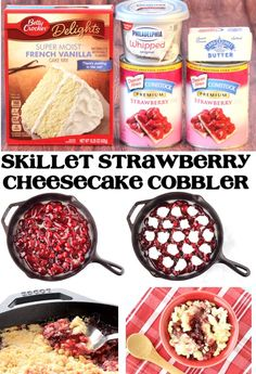 This easy cast iron Skillet Strawberry Cobbler with Cream Cheese is so easy and pure strawberry bliss! You just need these 4 ingredients to make yours. Strawberry Desserts, Strawberry Cheesecake, Köstliche Desserts, Delicious Desserts, Dump Cake Recipes, Fruit Recipes, Strawberry Cream Cheese Cobbler, Puppy Cake, Easy Summer Desserts