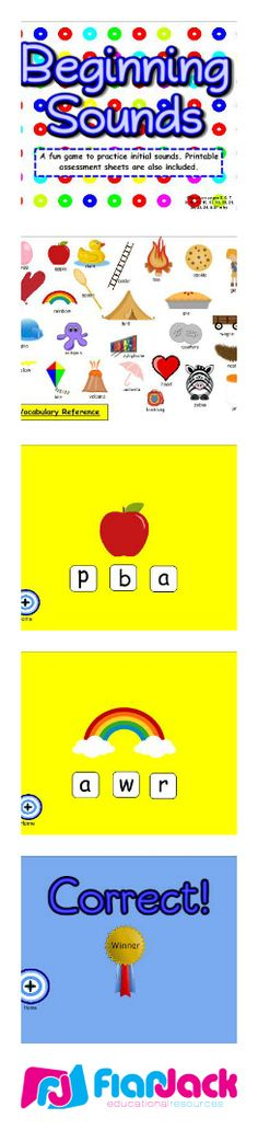 """($) Beginning Sounds SMART BOARD Game - In this Smart Board game, students hit the bull's eye and then choose the beginning letter of a picture shown. This game is kindergarten common core based and includes a download for a two-page printable assessment worksheet that contains the standard(s) covered and an """"I Can"""" statement. Every letter of the alphabet is covered."""