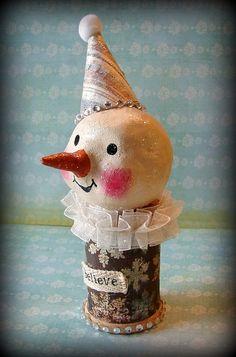 Paperclay snowman box