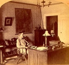 Today's Ballast Nation #throwbackthursday moment: Two men in an office with gas lighting, which required iron #ballasts.