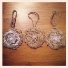 Three Burlap Rosette Christmas Ornaments With Pearl by TheRustique, $9.00