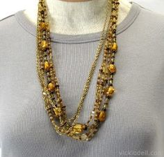 Incorporate amber, copper, and gold tones together with this Amber Waves Necklace pattern. If you love the look of layered jewelry, then you'll adore this amber adornment. The multistrand design gives the effect of multiple necklaces.