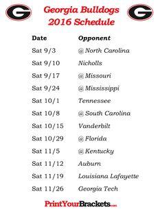 Printable Georgia Bulldogs Football Schedule 2016