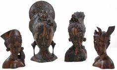 "Bali Hand Carved Sona Wood Lady Bust, Left to right: 7""H x 4.5""W, 12""H x 6""W, 9.5""H x 5""W, 7""H x 4.5""W"