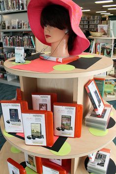 Audio book display at the new Calvert Library Southern Branch