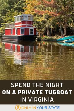 Enjoy the ultimate secluded staycation in Virginia! Spend the night on a charming tugboat on a private lake, surrounded by hiking trails. If you love nature, you'll want to explore the forest, go for a swim, try paddle boarding, and more. You can also relax in the house boat which has endless amenities, including Wi-Fi! It's great for a family vacation or romantic getaway. Oh The Places You'll Go, Places To Travel, Travel Destinations, Places To Visit, Luxury Travel, Travel Usa, Best Bucket List, Hidden Beach, Tug Boats