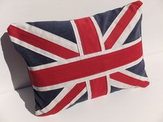 Union Jack  Flag Cushion, Handmade, Cushion by BobbinsFullofThread on Etsy