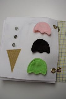 Busy book ideas - ice cream cones, mr. Potato head...
