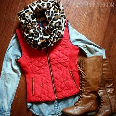 Fall Fashion, Fall Outfit, City Life Vest-Red, Leopard Scarf, Blue Jean Baby Button-Up & All Tied Up Boots-Cognac by Jane Divine Boutique www.janedivine.com