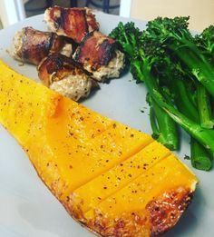 Today's lunch: Bacon wrapped turkey and date meatballs, roasted butternut squash, and steamed broccolini!    Gearing up for the Real Food Reset! Find out more here.