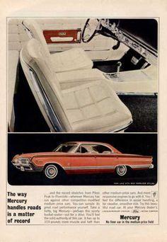 "Mercury Park Lane with ""Racy Marauder Styling,"" 1964 Vintage Advertisements, Vintage Ads, Vintage Photos, Mercury Marauder, Edsel Ford, Mercury Cars, Ad Car, Ford Classic Cars, Sports Sedan"