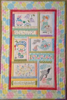 Nursery Rhymes by Anita Goodesign.  I LOVE this quilt!  This is my girl version done in pastels.  Anxious to start a boy version with different designs in brighter colors.