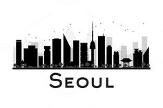 Seoul City skyline silhouette by @Graphicsauthor