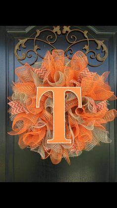 Ruffle style deco mesh wreath with team monogram.