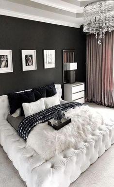 Gorgeous Glam black and White Luxury bedroom decor with restoration hardware soho bed, modern style tufted bed, modern glamour bedroom decor BW bedroom Glam Bedroom, Room Ideas Bedroom, Bedroom Black, Home Decor Bedroom, Bedroom Romantic, Bedroom Bed, Cozy Bedroom, Bedroom Green, Girls Bedroom