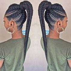 Ponytail 904 881 3552 or 904 881 0135 Braided Cornrow Hairstyles, Cornrow Ponytail, Twist Cornrows, Braided Hairstyles For Black Women, African Braids Hairstyles, Curly Ponytail, Natural Hair Braids, Braids For Black Hair, Goddess Braid Styles