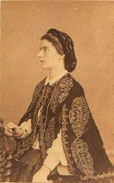 1860's Queen Marie -Sophia of Naples, great  cape and great example of 1860's hairnet.......