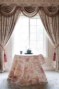 Celuce. Luxury yet peaceful. This Debutante swag valance curtain set features pink peony floral patterns in an embossed fashion. You will be stunned by the 3-dimensional fabric layers and the premium quality of tailoring.   Check it out on our website: http://www.celuce.com/p/76/debutante-swag-valances-curtain-drapes  beige, pink, curtain, curtains, draperies, drapes, elegant, floral, fringe, gold, jabots, luxury, ready made, silk, swag, swags, valance, valances, window treatment,
