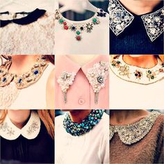 To know more about collar, visit Sumally, a social network that gathers together all the wanted things in the world! Studded Collar, Collar And Cuff, Beaded Collar, Collar Necklace, Do It Yourself Mode, Dress Patterns, Sewing Patterns, Sewing Collars, Bead Sewing