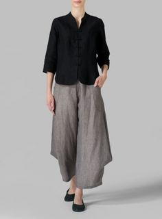 Black Linen Three Quarter Chinese Blouse