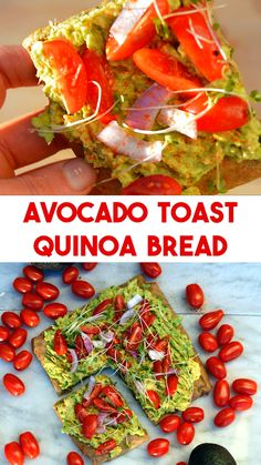 Avocado Toast on Quinoa Bread - Quinoa Bread Avocado Toast – easy to make naturally gluten free bread out of quinoa that is high in protein and naturally gluten free. Avocado Toast on Quinoa Bread Raw Food Recipes, Gluten Free Recipes, Vegetarian Recipes, Dinner Recipes, Healthy Recipes, Vegan Quinoa Recipes, Quinoa Gluten Free, Paleo, Vegetarian Cooking