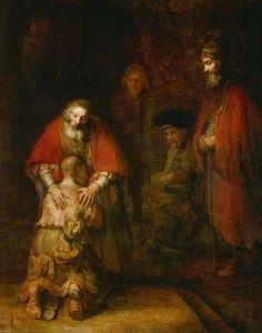 Rembrandt van Rijn (1606-1669), The Return of the Prodigal Son, c. 1668. Oil on canvas, 262 × 205 cm - The State Hermitage Museum, Saint Petersburg. #DutchGoldenAge  #GoudenEeuw