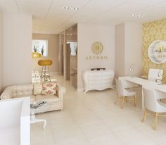 Beautiful nail salon - a view of waiting area, manicure stations and pedicure area at the back