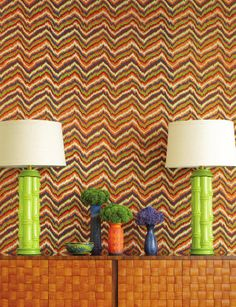 so 70's - like the colors - lamps, vases - but not sure I'd want the way wallpaper.  Although it is fun - maybe a playroom.  Any thoughts....