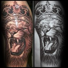 Mens Roaring Lion With Crown Half Sleeve Tattoos
