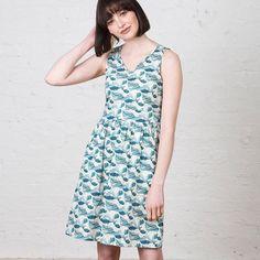 Kindling David Climbs Mt Fuji Dress, $155.  waves - sea - summer dress - Japan - linen - cotton - pockets - Australia - fair trade - ethical fashion