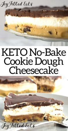 No Bake Cookie Dough, Cookie Dough Cheesecake, Keto Cheesecake, Chocolate Chip Cookie Dough, Low Carb Sweets, Low Carb Desserts, Low Carb Recipes, Diet Recipes, Ketogenic Desserts