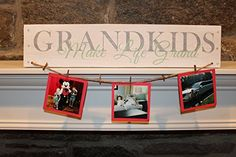 """Reclaimed Wood Wall Art - Grandkids Make Life Grand - Grandmom Gift, Grandpop Gift, Grandparents. This sign is the perfect gift for any grandparent to display in their homes! Each sign measures about 5 1/4"""" x 24"""". It is made from reclaimed wood, sanded soft to the touch and white washed. The word Grandkids is painted in a rustic finish of country gray. Make Life Grand is painted in a solid seaglass green. The string and mini cloth pins to hang the pictures are included! The background…"""