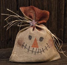 Primitive Scarecrow Burlap Bag - Country Rustic Halloween Fall Decor