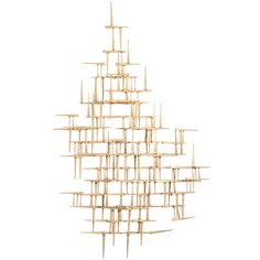 Mid Century Gilt Nail Wall Sculpture in the Style of Jere