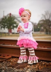 Haute Baby ``Dream Puff`` Pink and Brown Ruffled Tunic SetSizes - 6 Cute Girl Outfits, Cute Outfits For Kids, Children Outfits, Baby Outfits, Holiday Dresses, Holiday Outfits, Holiday Clothes, Designer Baby Clothes, Baby Couture