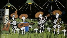 Dia de los Muertos / The Day of the Dead, or more aptly, the Days of the Dead in Mexico, are celebrated the day after Halloween, November 1 and 2. All these two holidays have in common with Halloween is proximity on the calendar and the sharing of a skeleton or two.