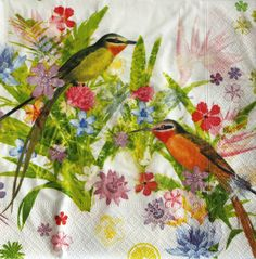 Birds decoupage paper napkins. Bird napkin. Napkings by Napkintime