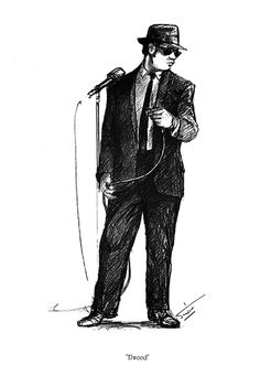 """""""Blues Brothers - Elwood"""" Elwood Blues As a bright spiritual light breaks through the clouds and blinds artist Ronald Suchiu he thinks. what did God create first, John Belushi or Jake, Elwood or Dan Aykroyd, The Blues Brothers or Lake Wasapamanni?"""