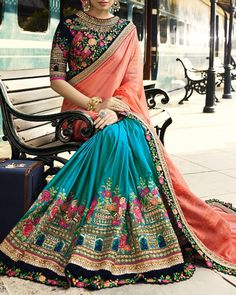 Firozi blue and peach saree with blouse. Fabric - Saree : Crepe silk and pure chiffon ; The blouse can be customized up to maximum. Indian Dresses, Indian Outfits, Couture Dresses, Fashion Dresses, Chiffon Saree, Saree Dress, Gown Dress, Chiffon Fabric, Sari