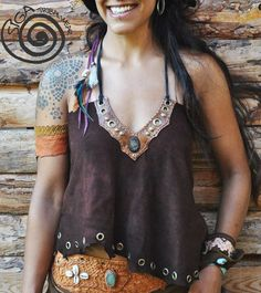 LEATHER custom MADE Collar Gypsy Top