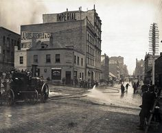 Cleansing the streets in Sydney, 1900, due to the outbreak of bubonic plague