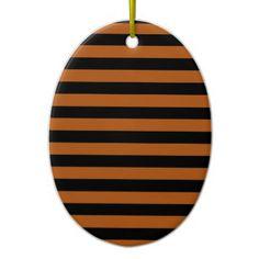 Halloween Stripes Ceramic Ornament - black gifts unique cool diy customize personalize