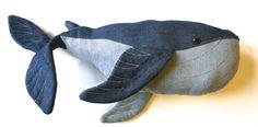 DIY denim blue whale soft toy